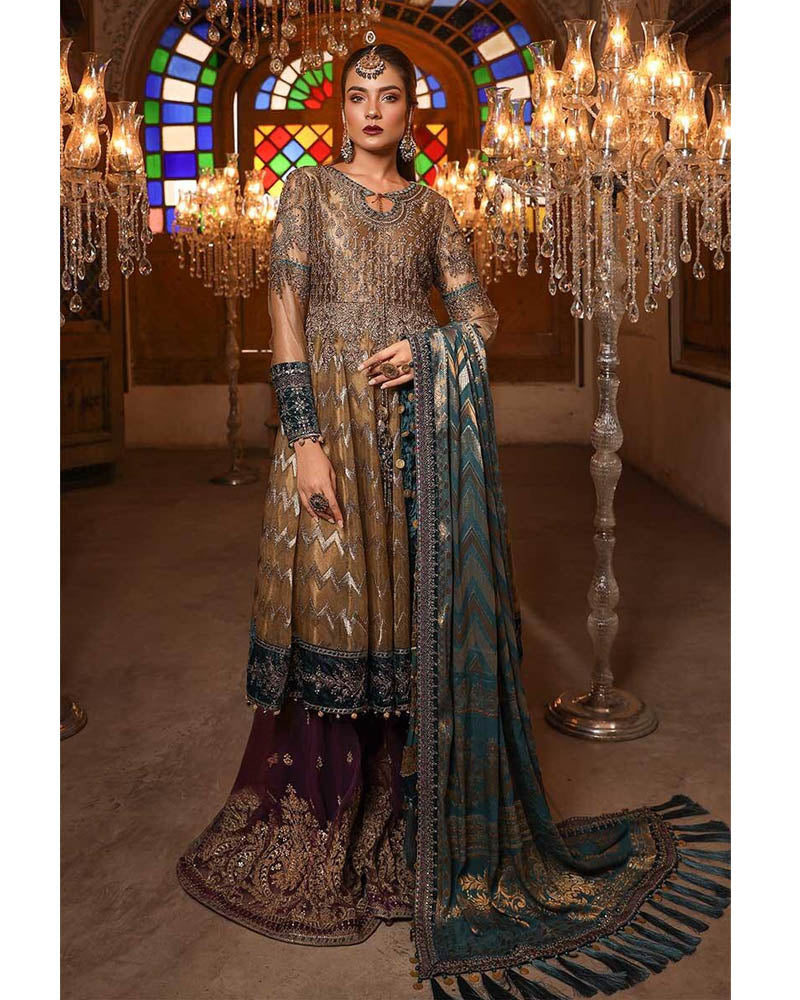 Maria B Unstitched EMBROIDERED Metalic Brown & Teal Salwar Suits - BD-1702