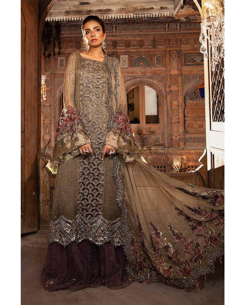 Maria B Unstitched MBROIDERED Cappuccino Grey & Lilac Salwar Suits - BD-1704