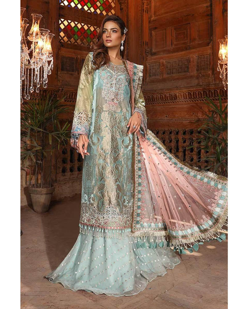 Maria B Unstitched MBROIDERED Powder Blue & Coral Salwar Suits - BD-1705