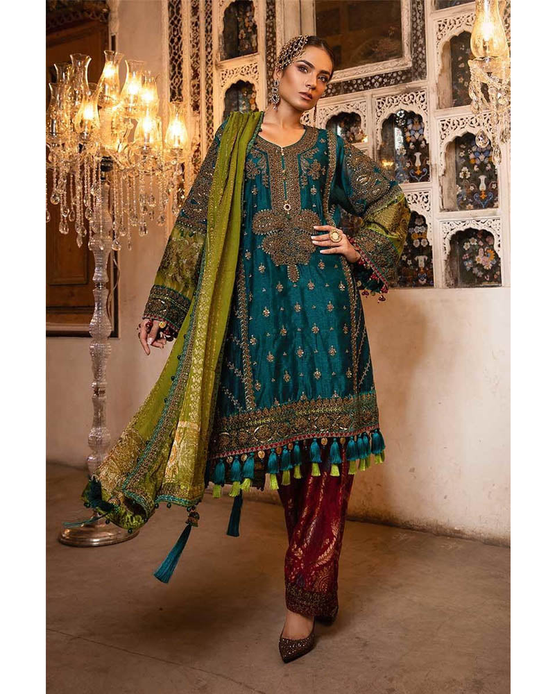 Maria B Unstitched MBROIDERED Teal, Green & Deep Ruby Salwar Suits - BD-1706