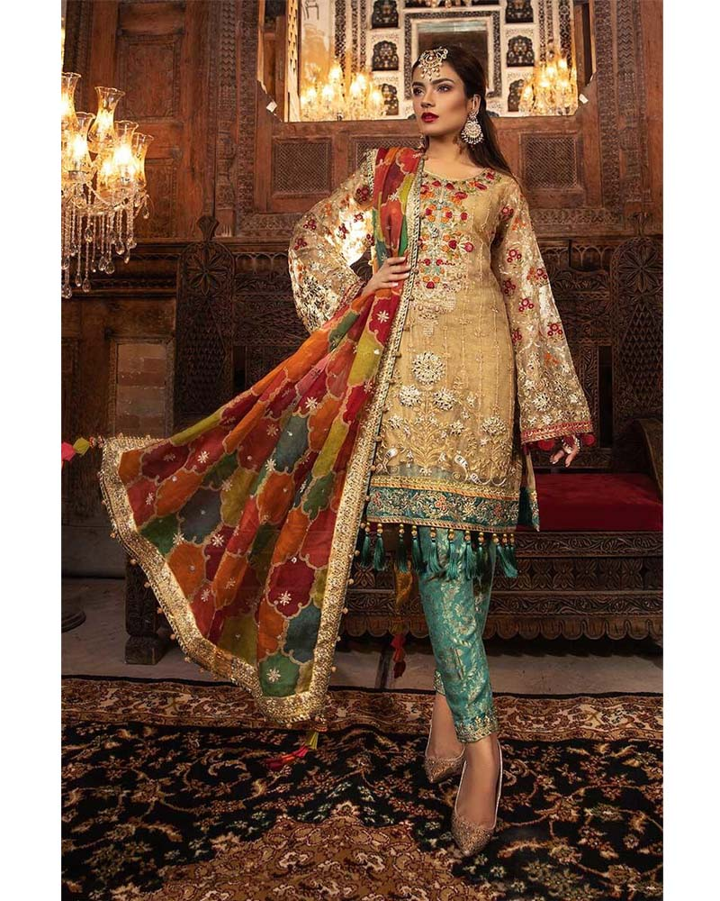 Maria B Unstitched MBROIDERED Shimmering Gold Salwar Suits - BD-1707