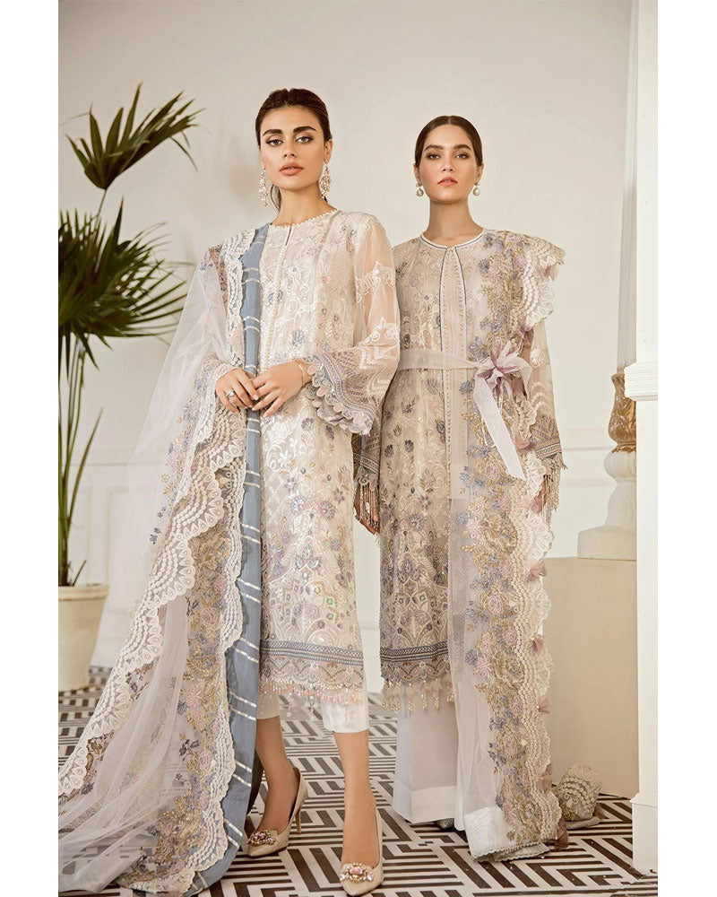 Baroque Chantelle Chiffon Pakistani Salvar Suit Pewter DN-09