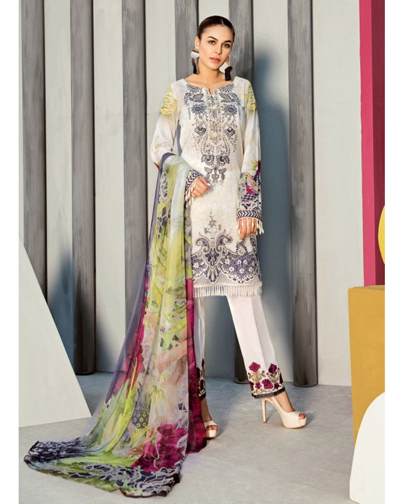 Iznik Lawn Festive Collection Salwar Suit Vaporous White IFL-04