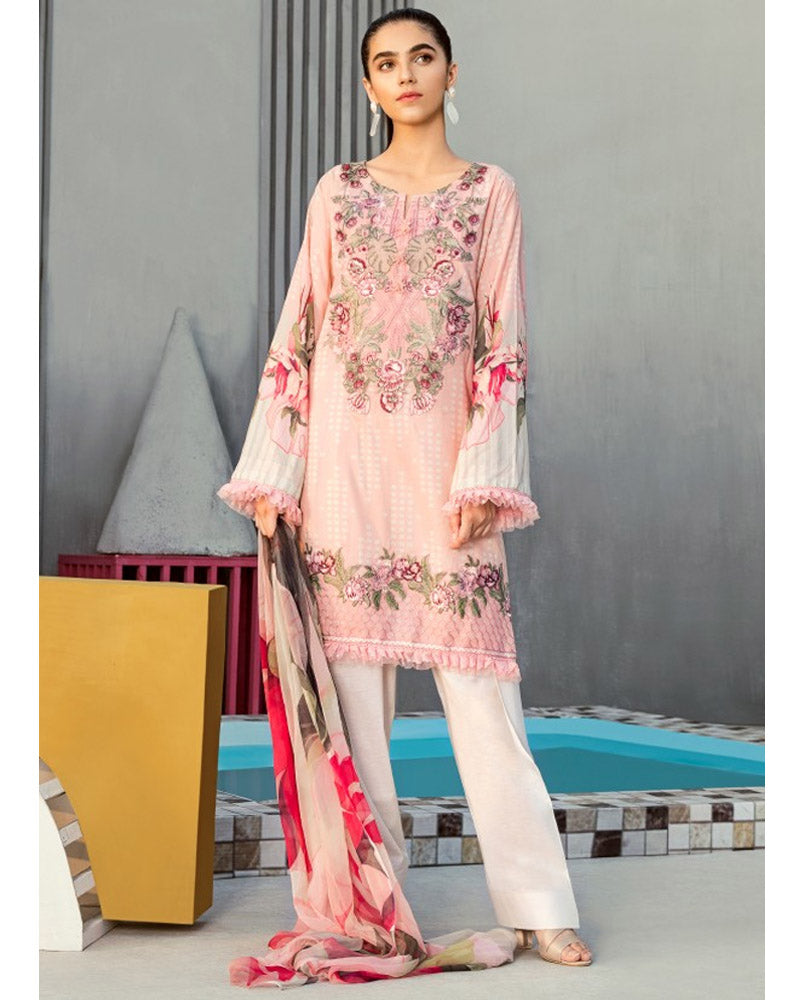 Iznik Lawn Festive Collection Salwar Suit Cream Pink IFL-06