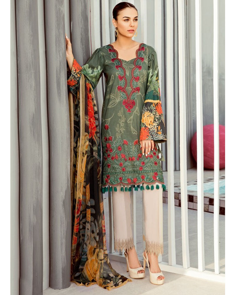 Iznik Lawn Festive Collection Salwar Suit Olivine IFL-12