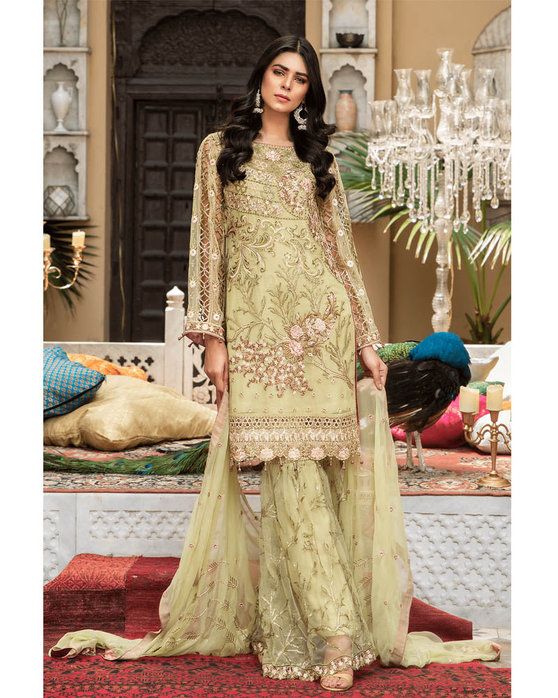 Maryams Luxury Embroidery Collection GOLD Vol-4 Mint Rubble-MG-43