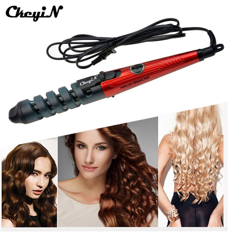 2019 Black Red Electric Magic Hair Styling Tool Rizador De Pelo Hair Curler Roller Pro Spiral Curling Iron Wand Curl Styler HS10