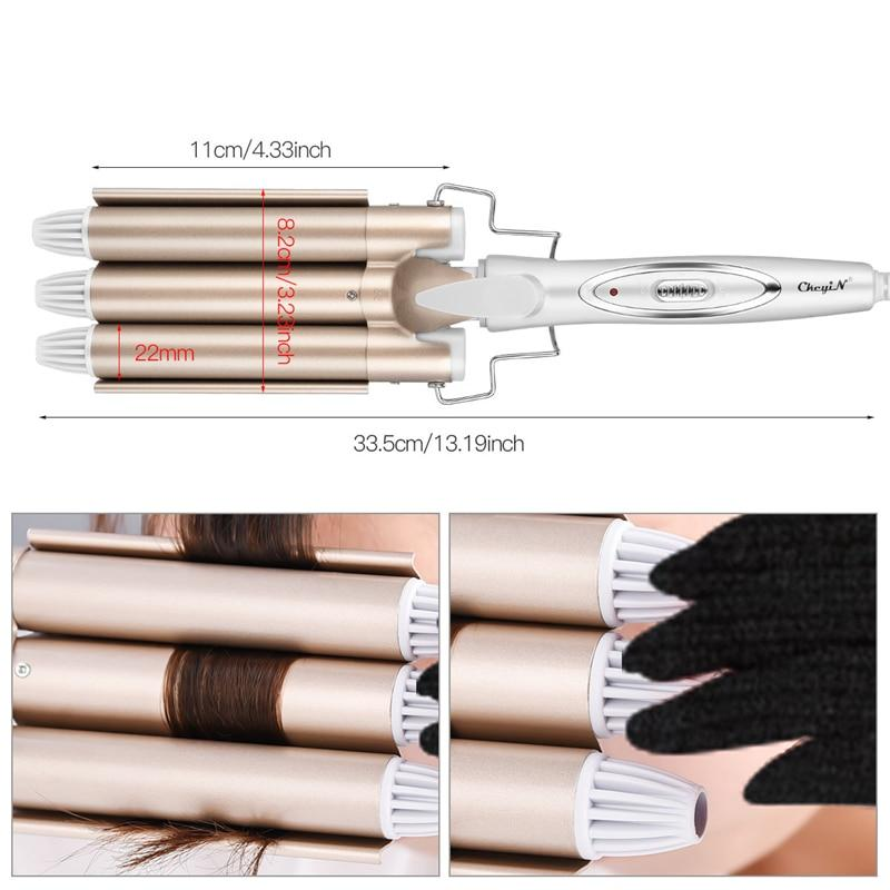 Professional Hair Curling Ceramic Triple Barrel Electric Hair Wave Curler Iron Rollers Pear Waving Waver Fast Styling Tools 40