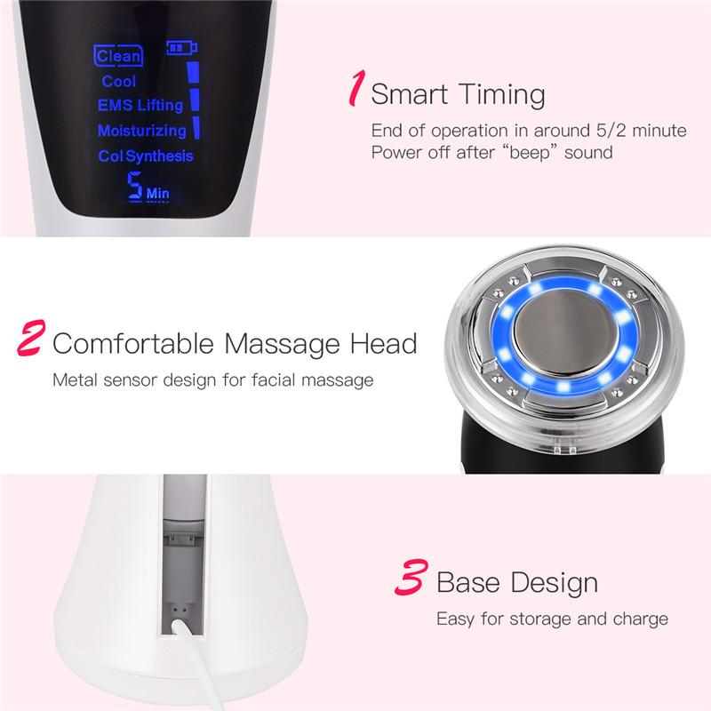 EMS Hot Cool Facial Massager Sonic Vibration Ion LED Photon Anti Aging Skin Rejuvenation Lifting Tighten Face Skin Care Beauty 4