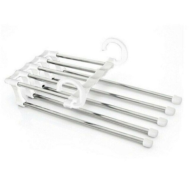5 in 1 Pants rack shelves Stainless Steel Multi-functional Wardrobe Magic Hanger