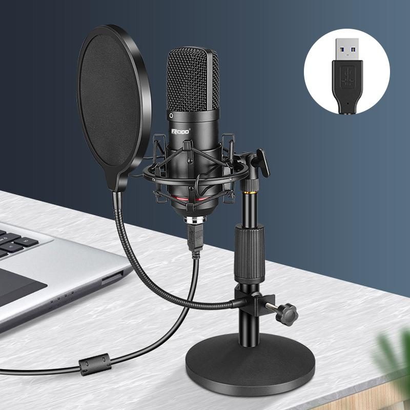Professional Podcast Microphone Kit Desktop Stand Laptop for Computer YouTube Gaming Recording Metal Cardioid Condenser USB  Mic