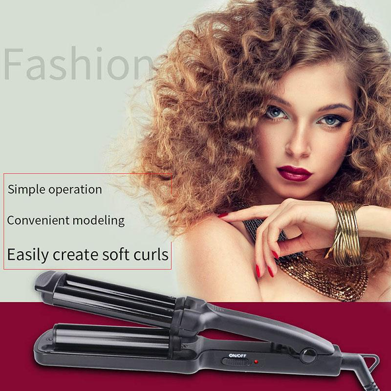 Tourmaline ceramic Fashion 3 Barrels Mini Hair Curler Ceramic Wave Curling Iron Hair Hair Styling Tools  Lady's Beauty