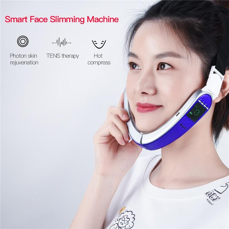V Face Slimming Massager Infared Hot Compress Double Chin Remover with 4 Modes Tems Led Light Photon Facial Skin Whitening