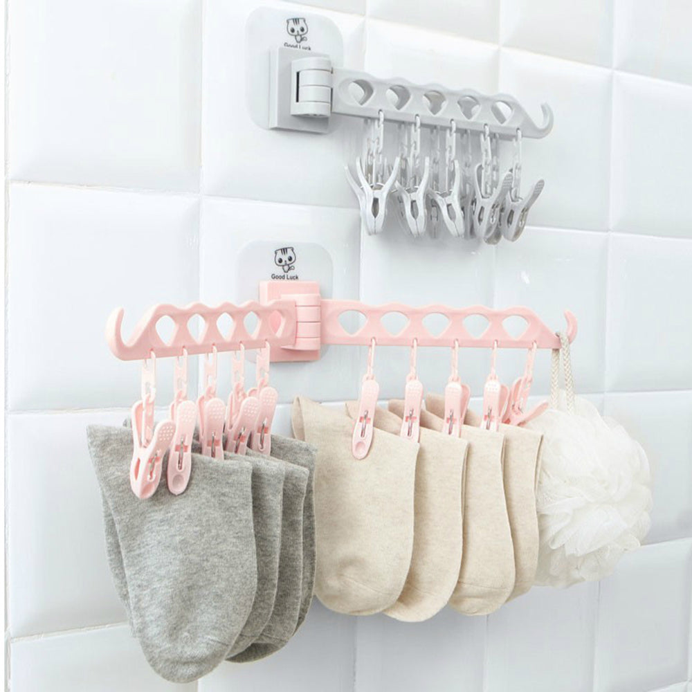 Free punching Wall-mounted foldable drying Socks  storage hanger For Household