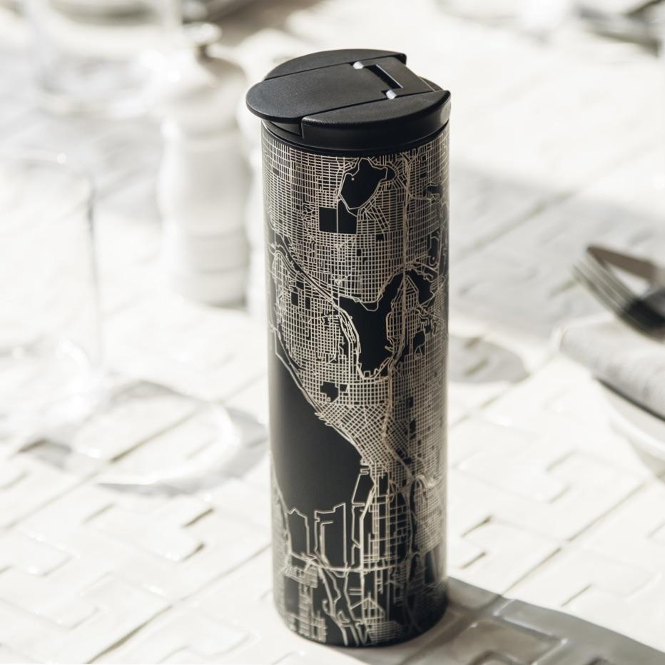 Austin - Texas Map Tumbler in Matte Black