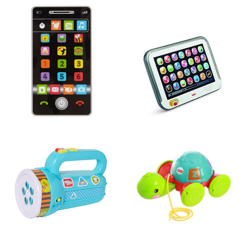 Bundle of Toys 13 : ELC Little Learning Phone, ELC My First Torch, Fisher Price Laugh & Learn Smart Stages Tablet, Fisher Price Pull Along Turtle
