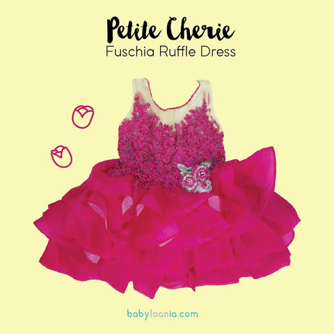 Petite Cherie Fuschia Ruffle Dress