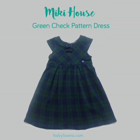 Miki House Green Check Pattern Dress