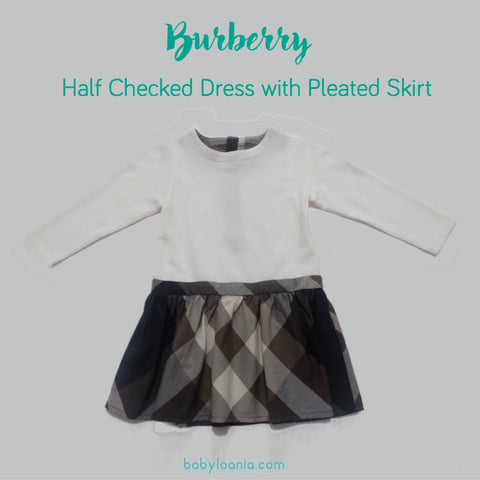 Burberry Half Checked Dress with Pleated Skirt Detail
