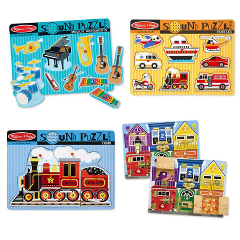 5-in-1 Melissa & Doug Sound Puzzles and Latches Board