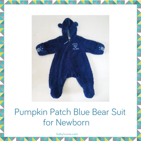 Pumpkin Patch Blue Bear Suit for Newborn