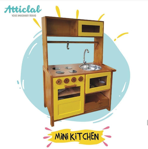 Atticlab Design Yellow on Brown Small Kitchen Set