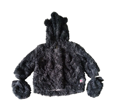 Catimini Black Faux Fur Hooded Jacket with Attached Gloves