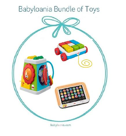 Bundle - Of Toys 25 : Fisher Price Pull Along Activity Blocks, Fisher Price Take and Turn Activity Cube, dan Fisher Price Laugh & Learn Smart Stages Tablet
