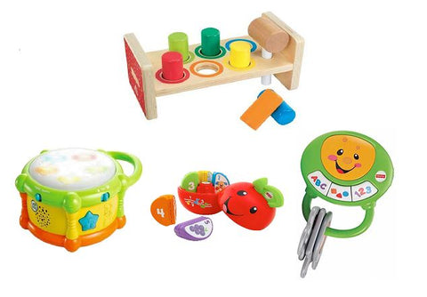 Bundle of Toys 23 : Fisher Price Laugh & Learn Learning Keys, Fisher Price Laugh & Learn Learning Happy Apple, Leapfrog Learn & Groove : Color Play Drum, dan ELC Wooden Hammer Bench