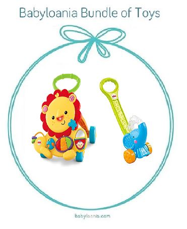 Bundle of toys 9: Fisher Price Musical Lion Walker & Fisher Price Pop N Push Elephant