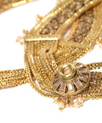 Priyaasi Set Of 2 Gold Plated Kundan Studded Heavy Anklets with Pearls Drop