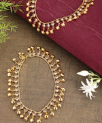 Priyaasi Set Of 2 Gold Plated Stones Studded Ghungroo Drops Anklets