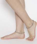 Priyassi Oxidised Silver Floral Anklet for Women & Girls