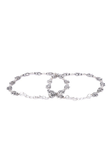 Oxidised Silver Elephant Inspired Anklet for Women & Girls