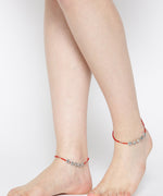 Priyaasi Oxidised Silver-Toned & Red Beaded Anklets For Women And Girls