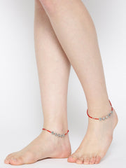 Oxidised Silver-Toned & Red Beaded Anklets For Women And Girls