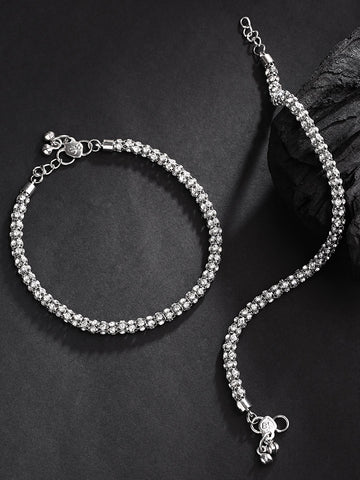 Silver-Toned Stone-Studded Anklets For Women And Girls