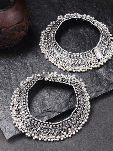 Antique Oxidised Silver Plated Traditional Broad Anklets Set Of 2