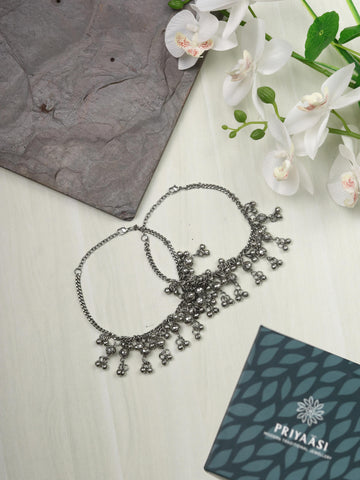 Ghungroo Silver Plated Oxidised Anklet