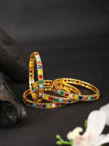 Set of 2 Colored Stones Gold Plated Bangles