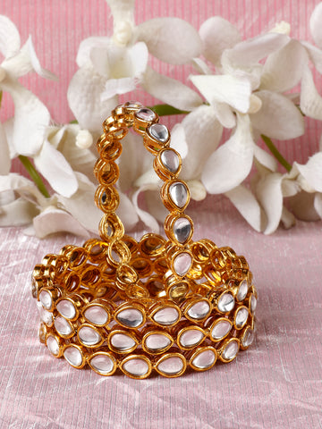 Set of 4 Gold-Plated Drop Shaped Kundan Studded Bangles