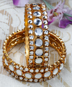 Priyaasi's Traditional Jewellery Gold Plated Kundan Bracelets Bangles Set