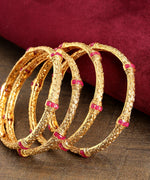 Priyaasi Set of 4 Gold Plated Designer Bangle With Red Studs