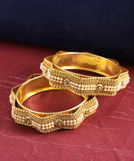 Set Of 2 Gold-Plated Pearls & Stones Studded Star Shaped Bangles