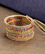 Priyaasi Set of 16 Multicolour Thread Work and Stones Studded Bangles