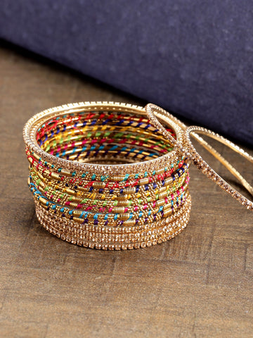 Set of 16 Multicolour Thread Work and Stones Studded Bangles