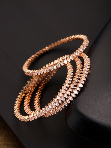 Set Of 4 Rose Gold-Plated American Diamond Studded Bangles