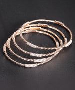 Priyaasi Set Of 4 Rose Gold Plated CZ Stone Studded Sleek Bangles For Women And Girls