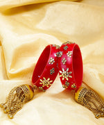 Set of 2 Stones Embellished Floral Patterned Bridal Kaleera Bangles in Red Color