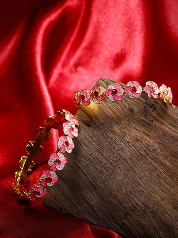 Set of 2 Gold-Plated Stones Studded, Pink & White Meenakari Bangles in Floral Pattern